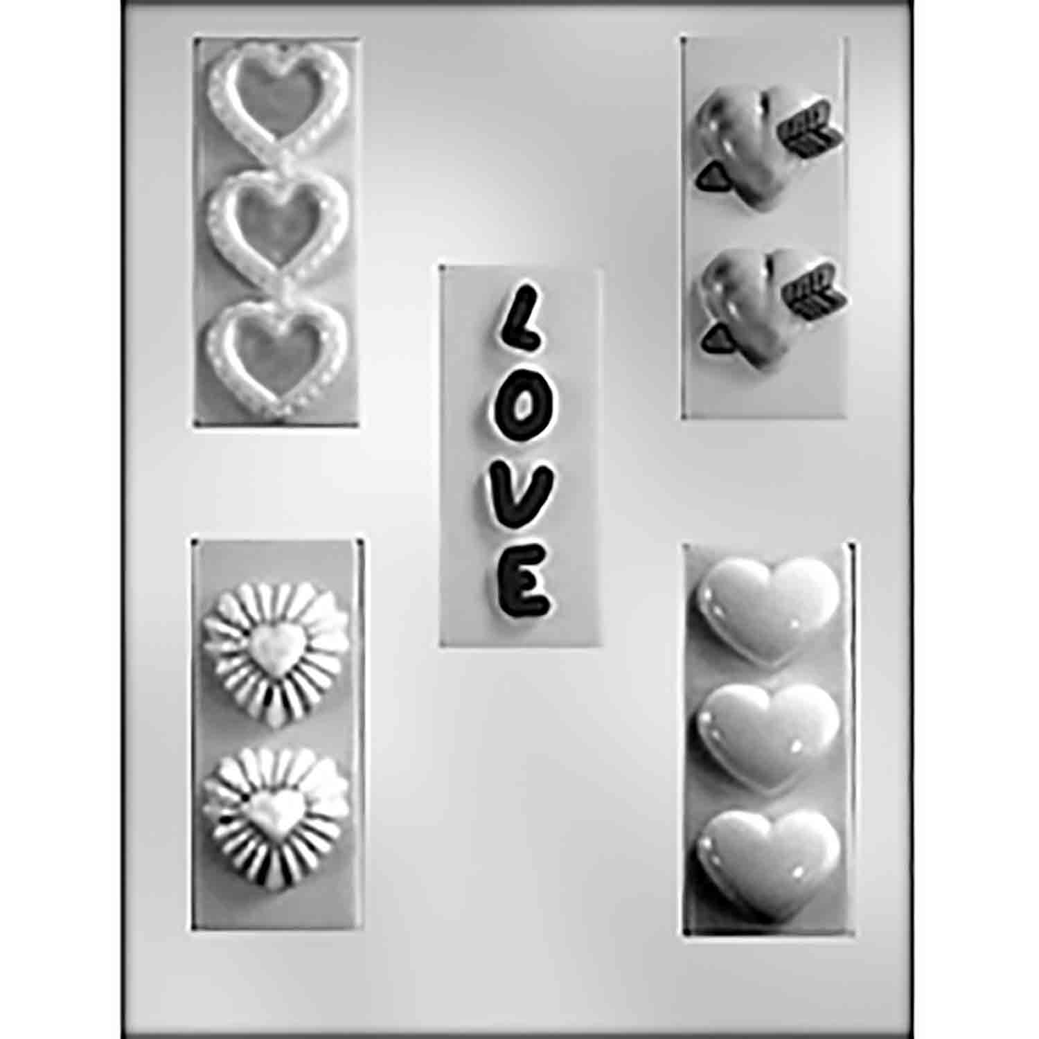 """LOVE"" with Hearts Bars Chocolate Candy Mold"