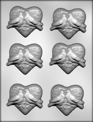 Heart with Doves Chocolate Candy Mold