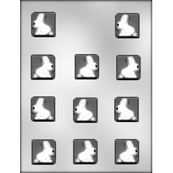 Bunny on Square Chocolate Candy Mold