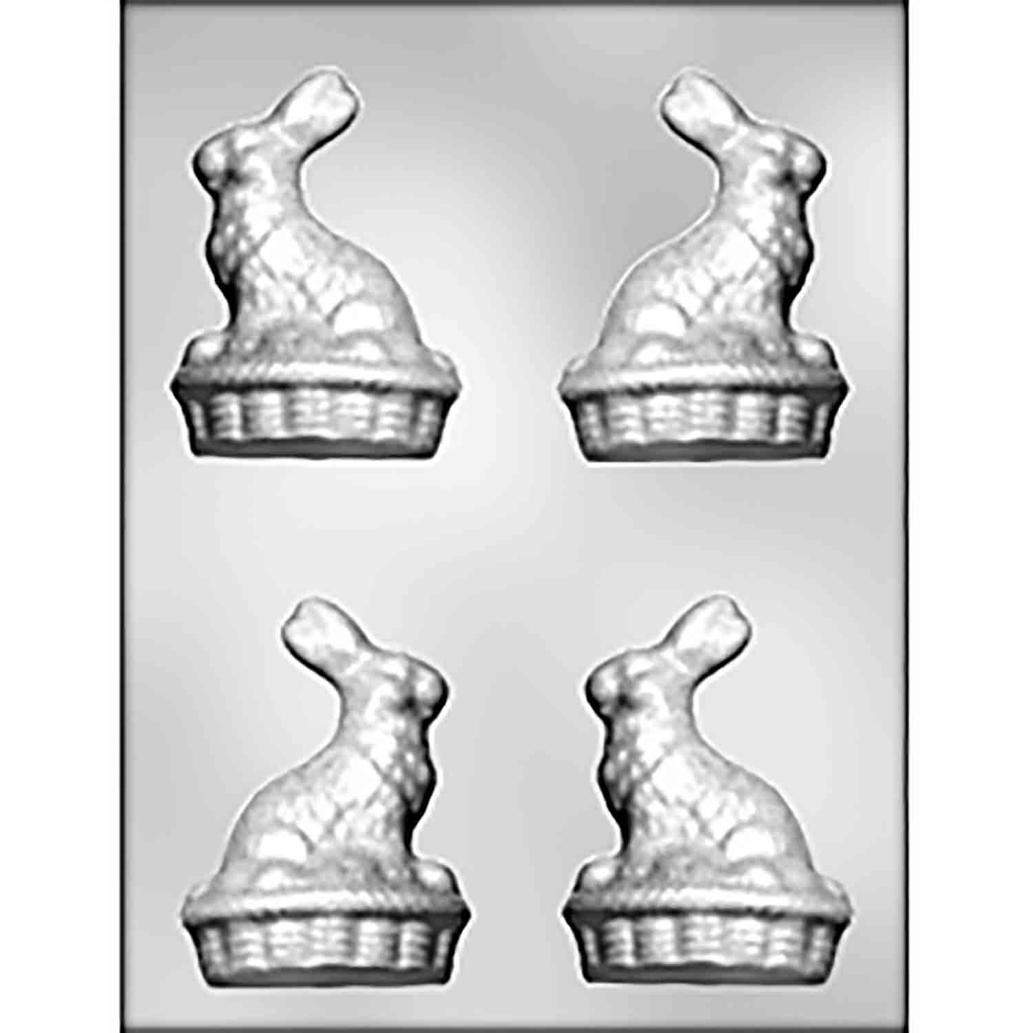 3D Bunny on Basket Chocolate Candy Mold