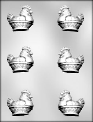 3D Hen on Basket Chocolate Candy Mold