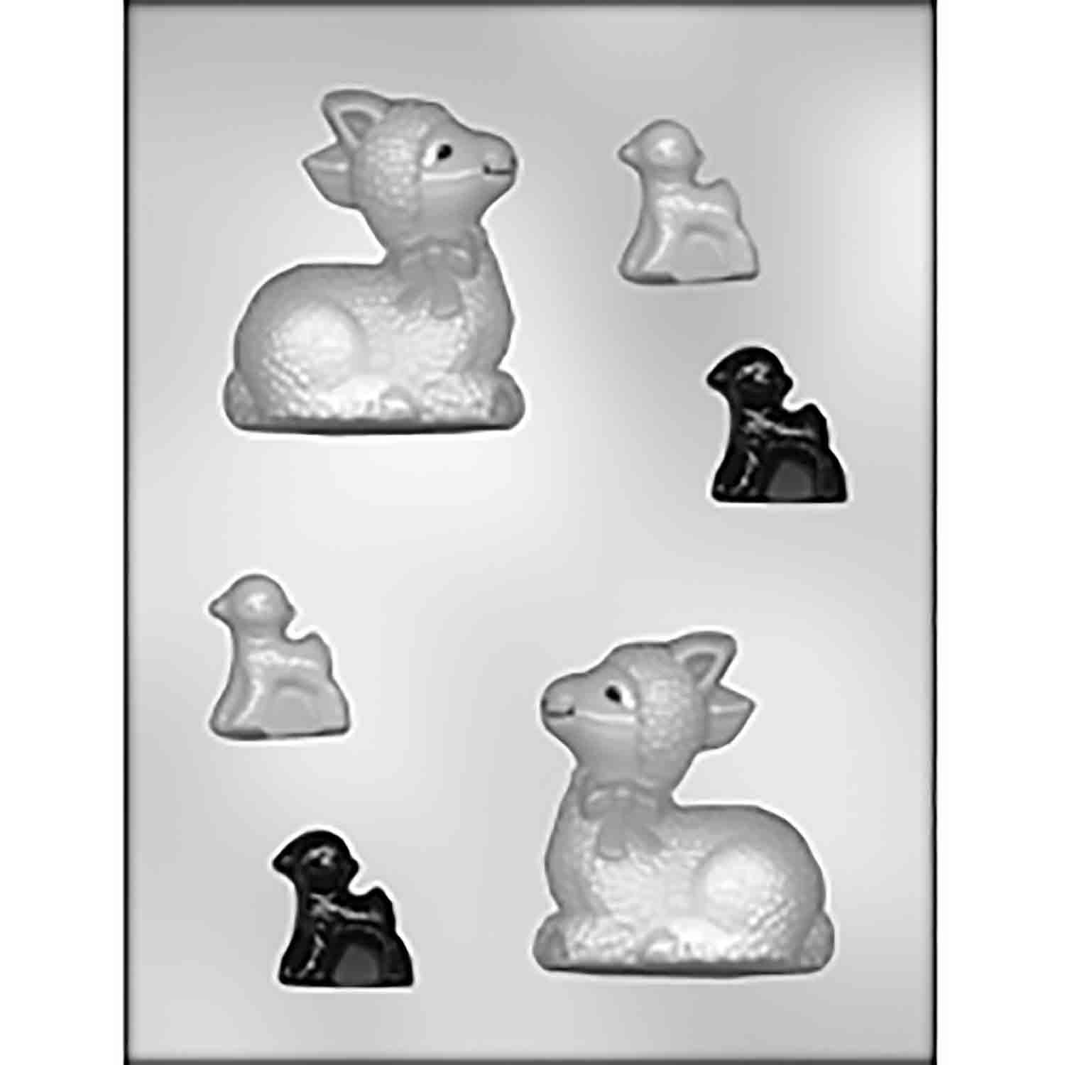 3D Large Sitting Lamb & Smaller Lambs Candy Mold