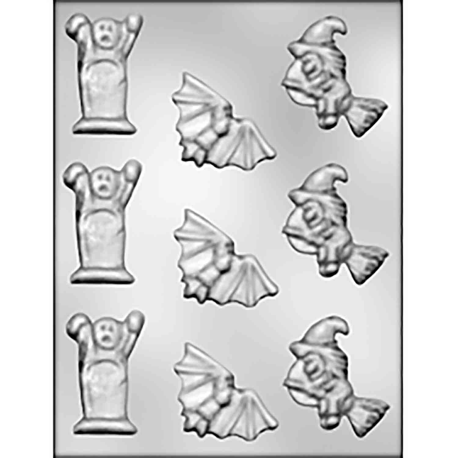 Bat, Ghost & Witch Chocolate Candy Mold