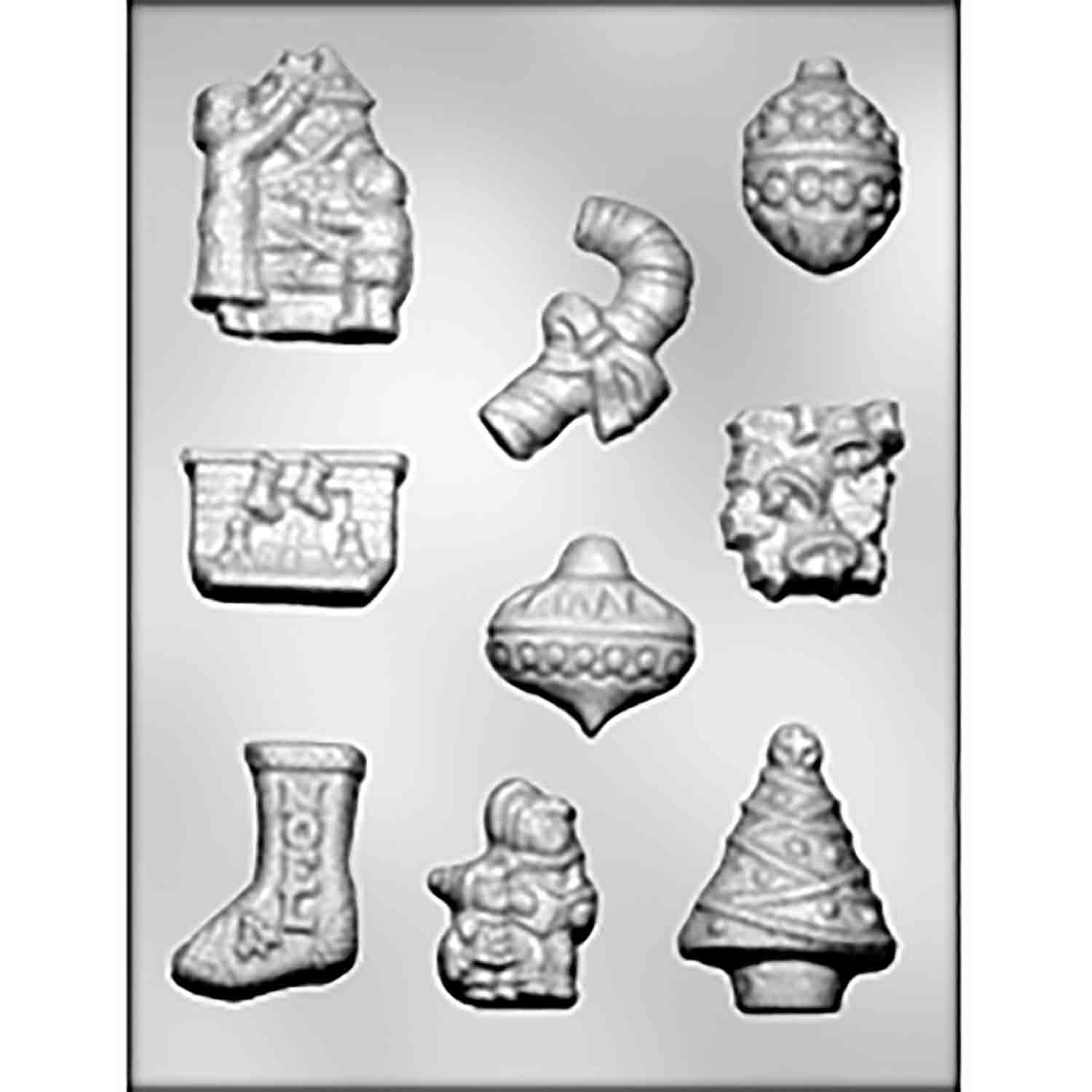 Fireplace, Tree, Ornaments & Candy Cane Candy Mold