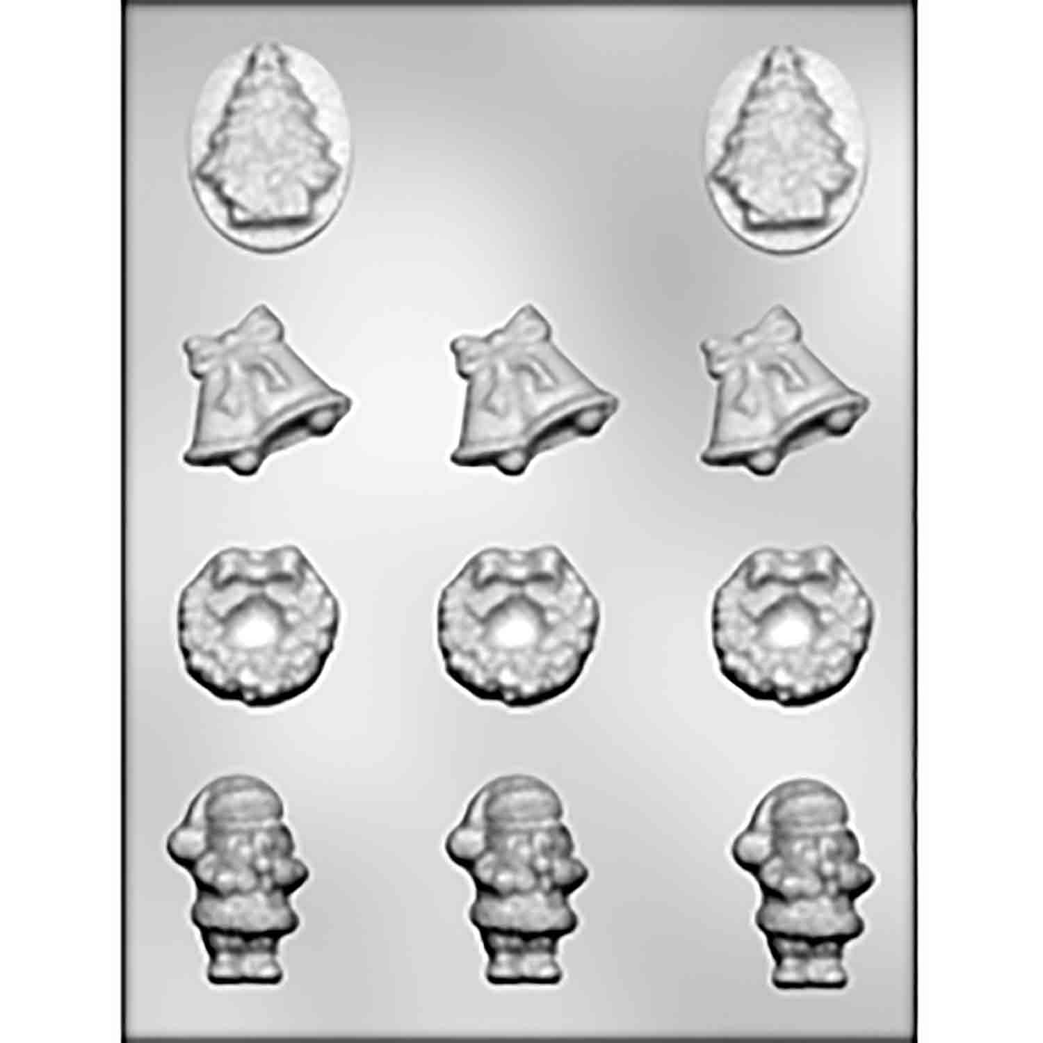 Wreath, Santa, Bells & Tree Chocolate Candy Mold