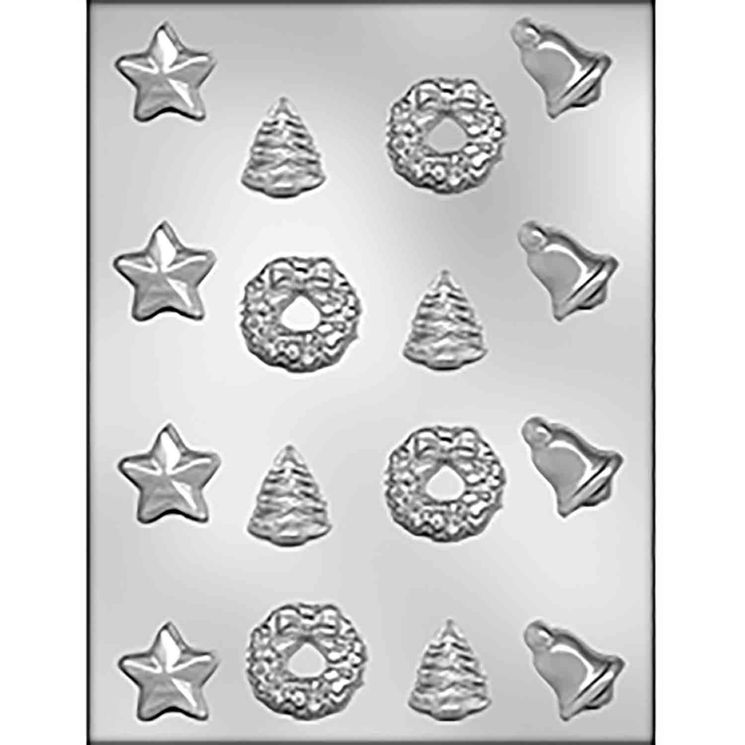 Star, Bell, Wreath & Tree Chocolate Candy Mold