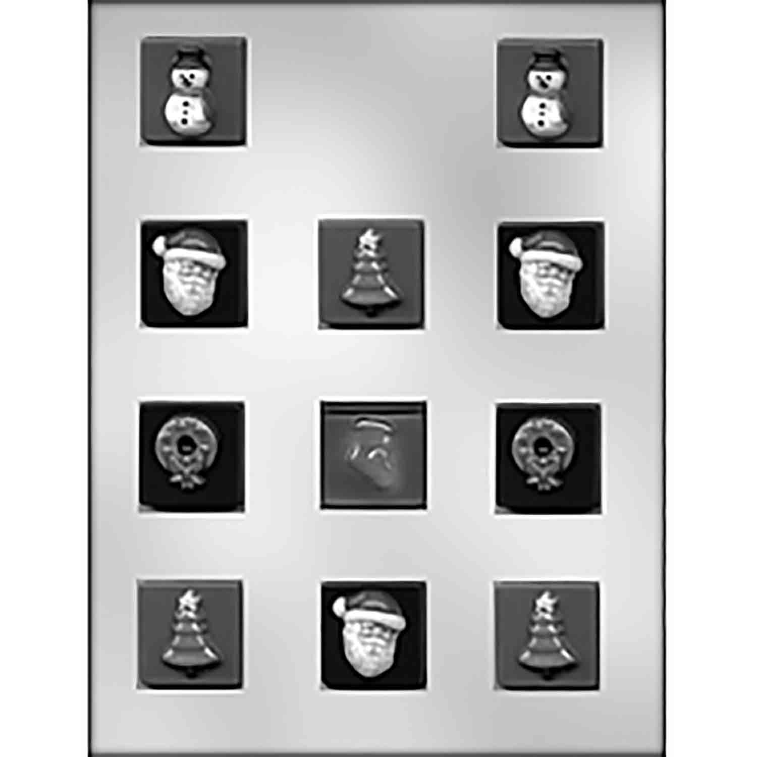 Christmas Assortment on Square Candy Mold