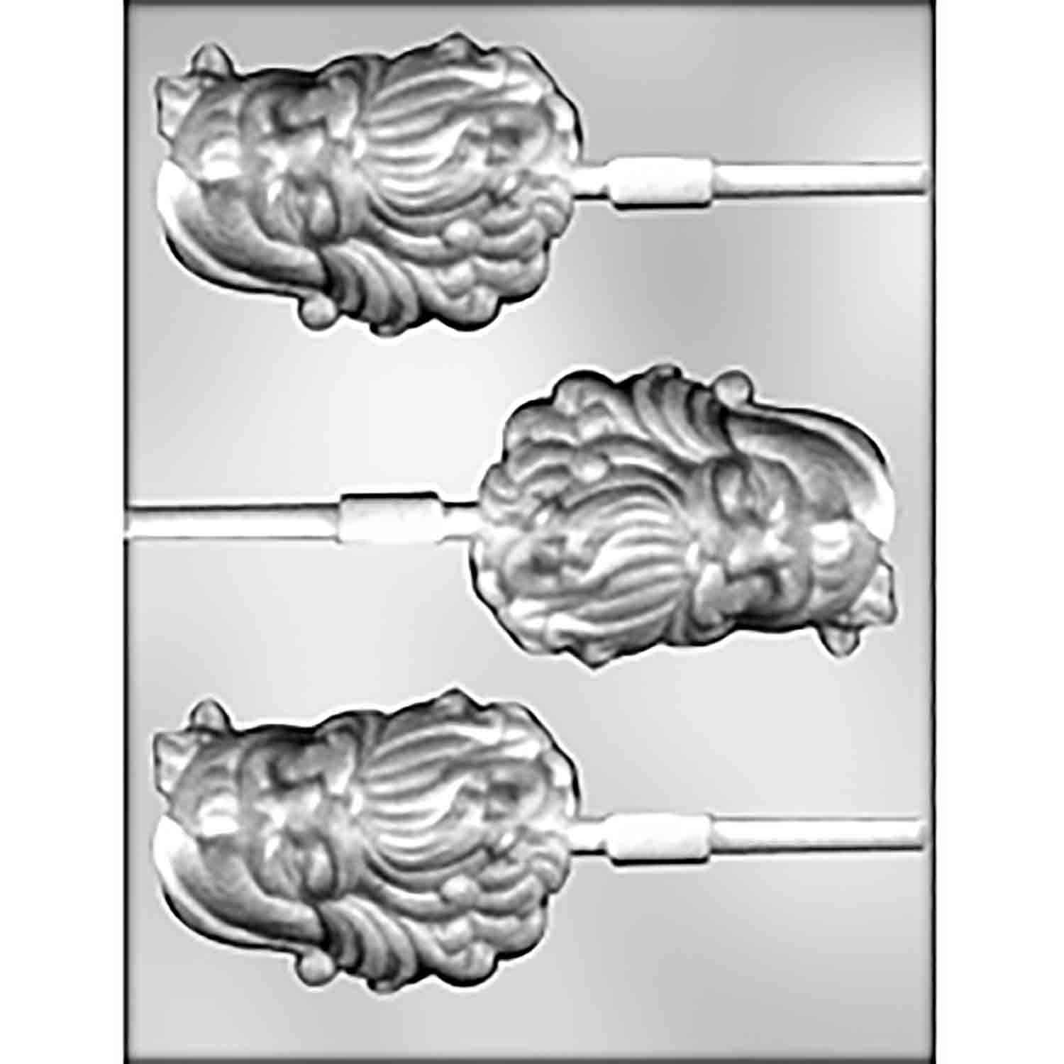 Wavy Beard Santa Face Sucker Chocolate Candy Mold