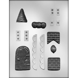 Gingerbread House Accessories Chocolate Candy Mold
