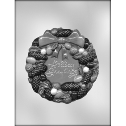 """Holiday Greetings"" Pinecone Wreath Candy Mold"