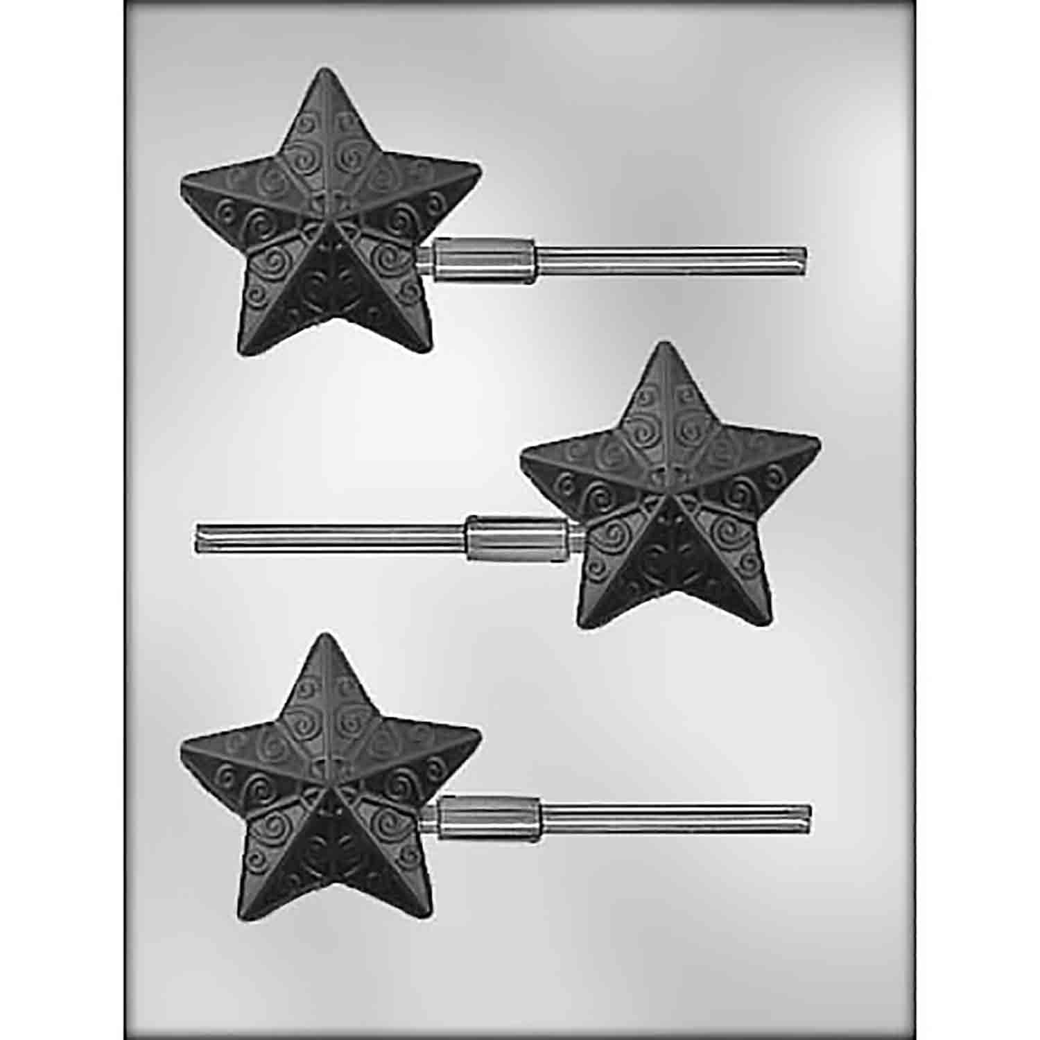 Fancy Star Sucker Chocolate Candy Mold