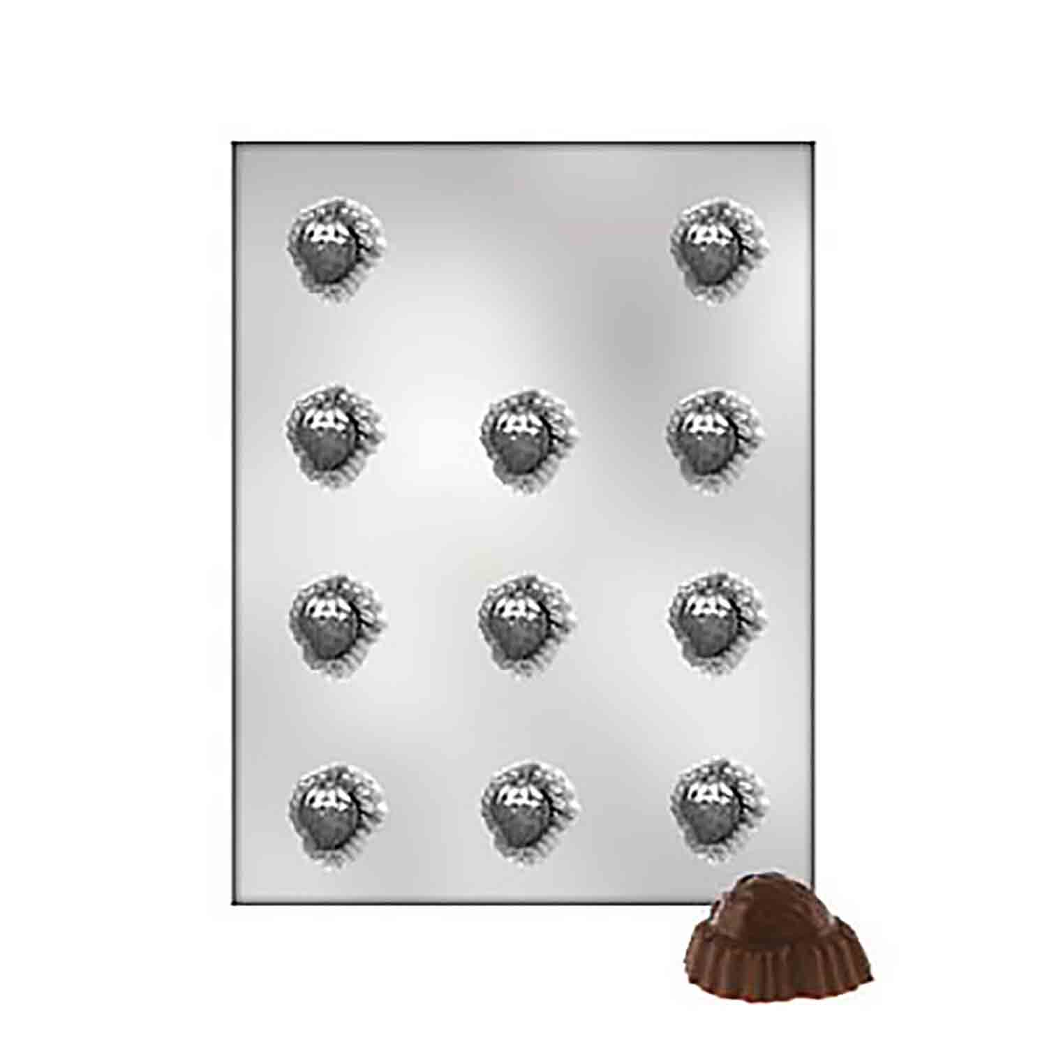 Strawberry on Leaf Chocolate Candy Mold