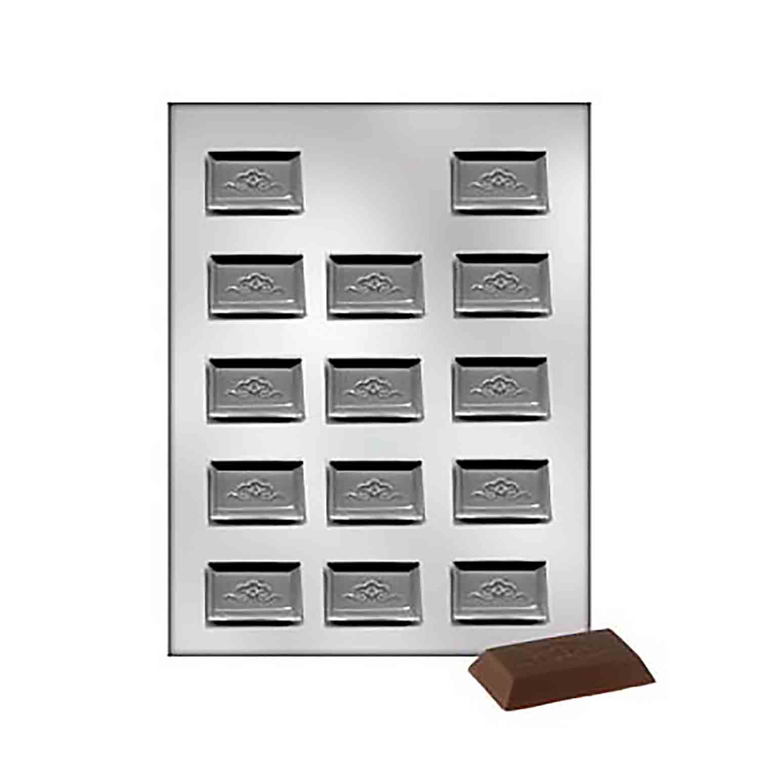 Rectangle with Scroll Design Chocolate Candy Mold
