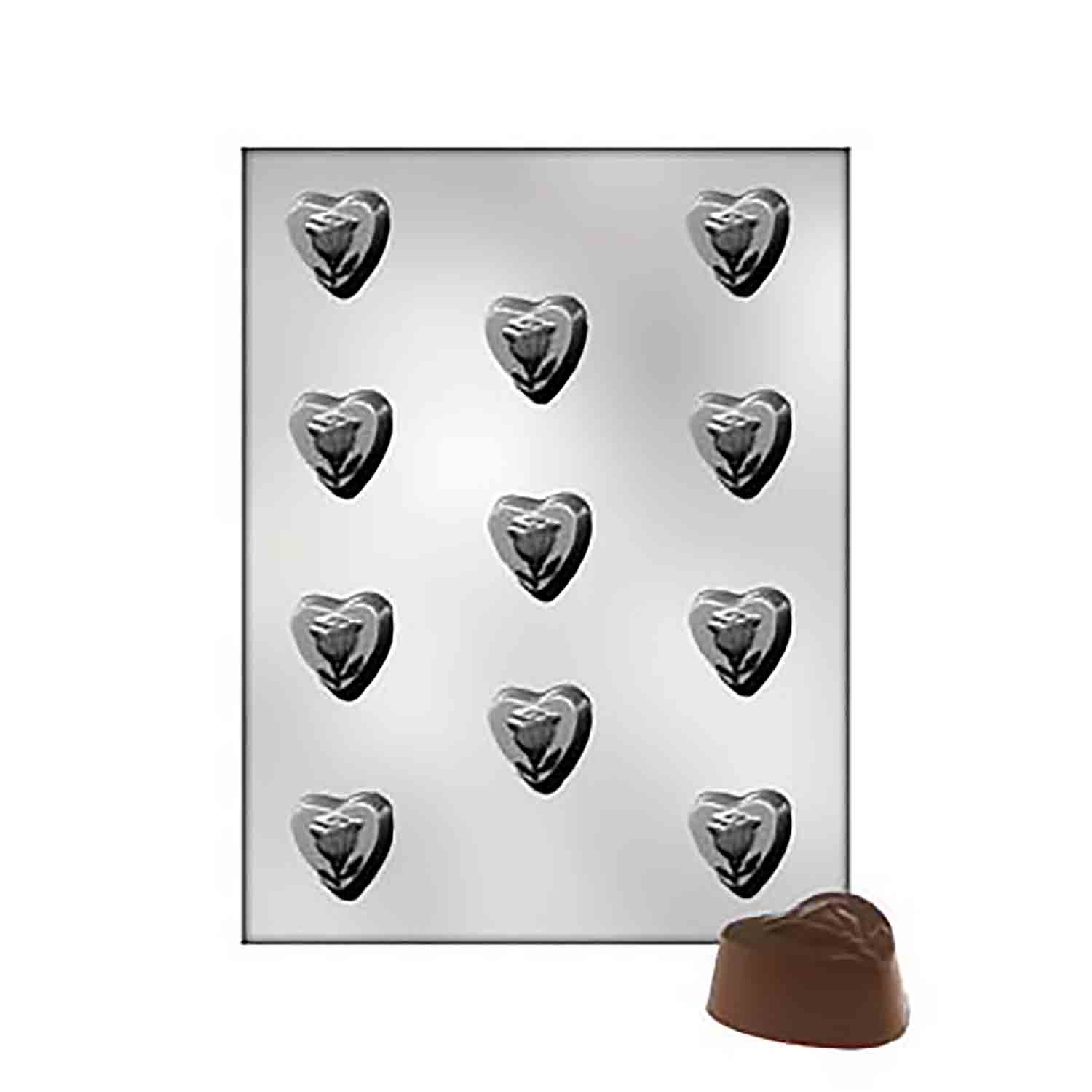 Heart with Rose Chocolate Candy Mold