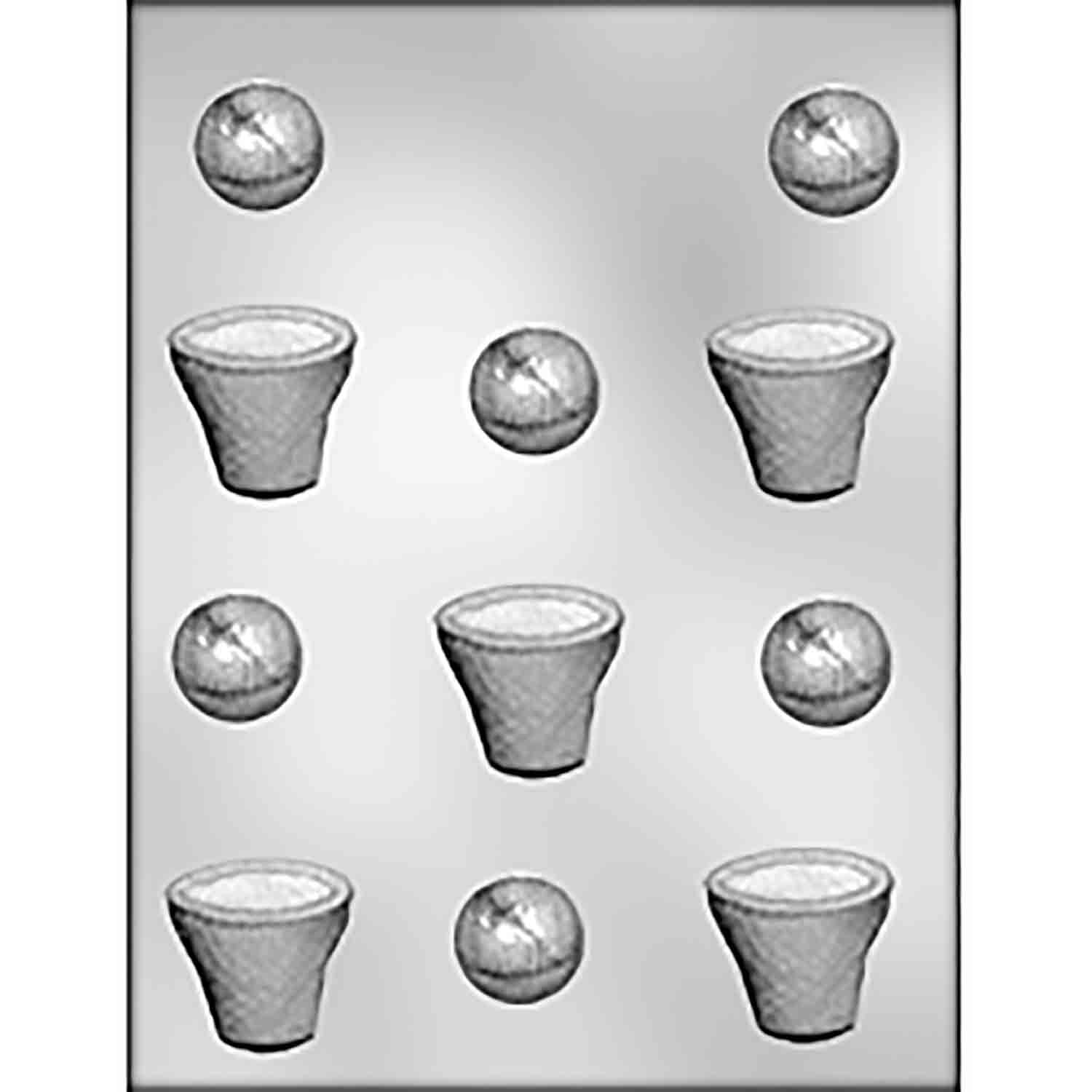 Basketball & Basket Chocolate Candy Mold
