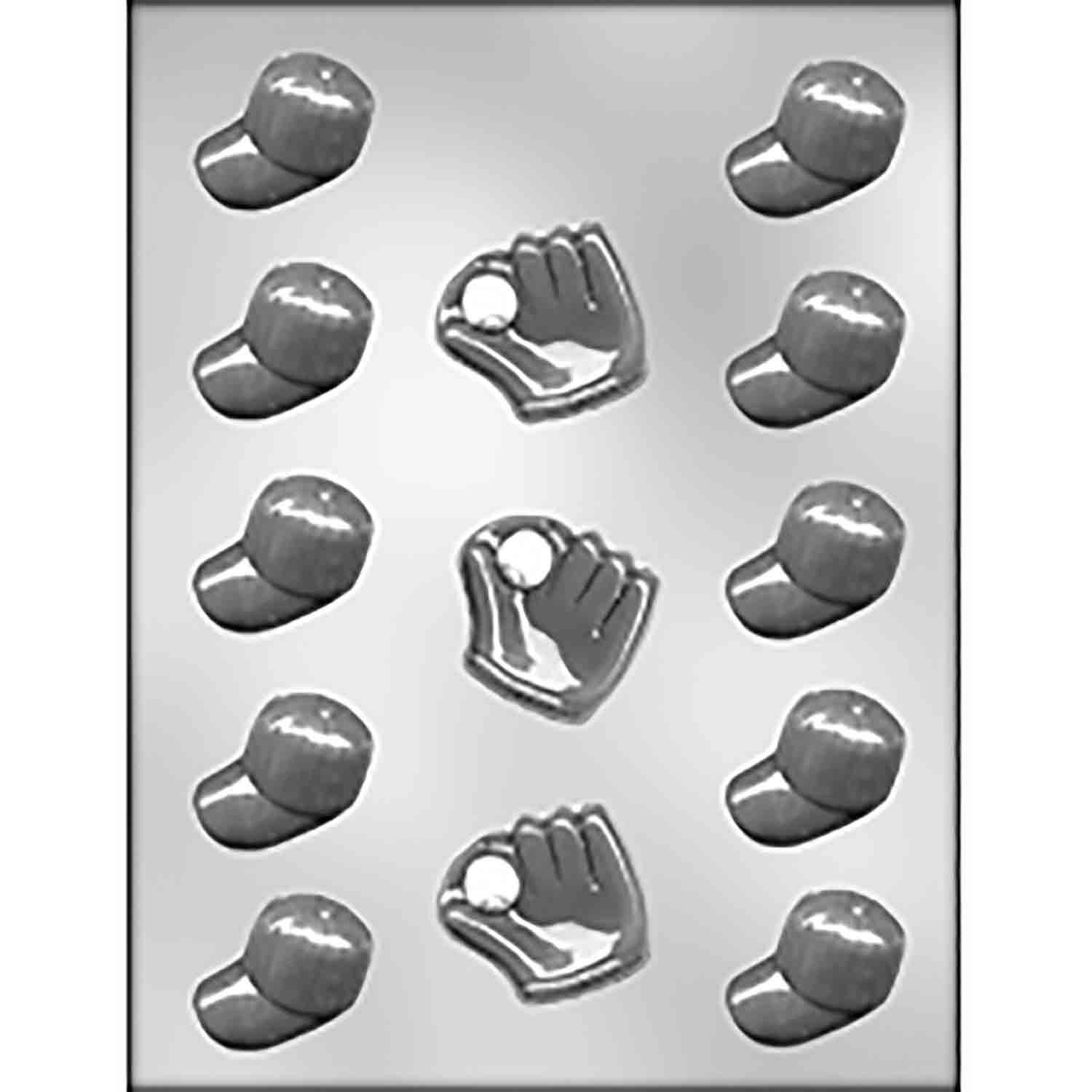 Baseball Caps & Gloves Chocolate Candy Mold