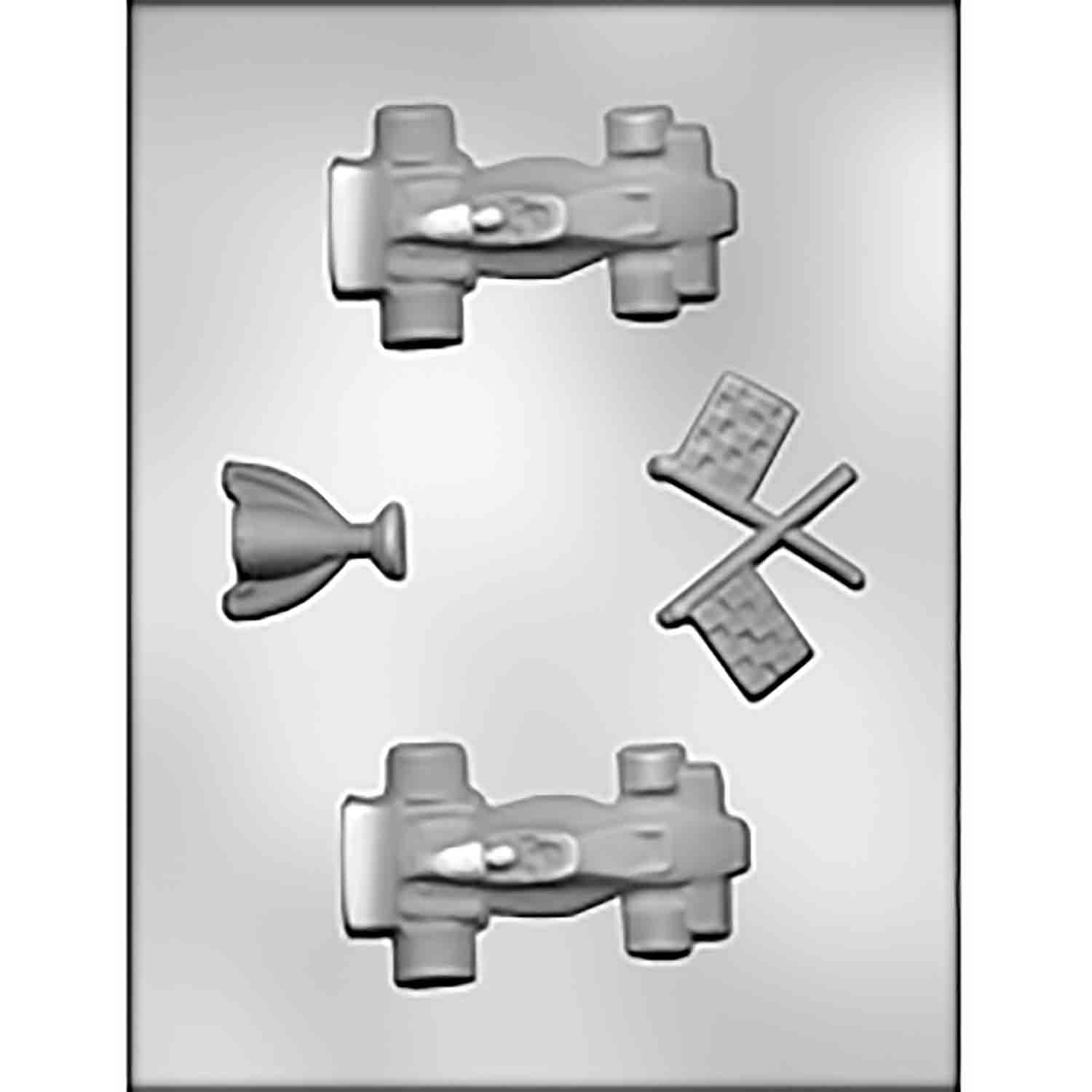 Race Cars, Trophy & Flags Chocolate Candy Mold
