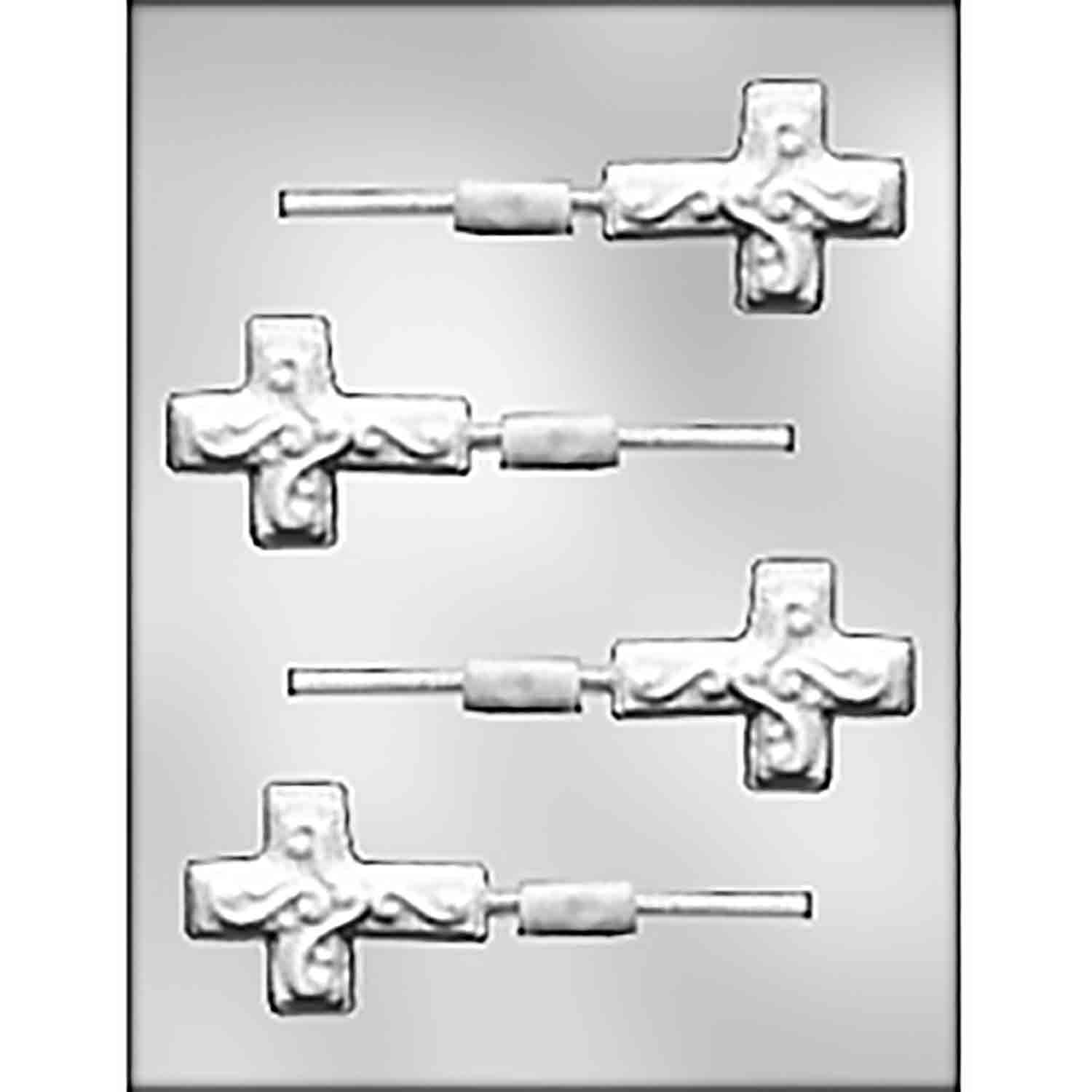 Cross with Scroll Sucker Chocolate Candy Mold