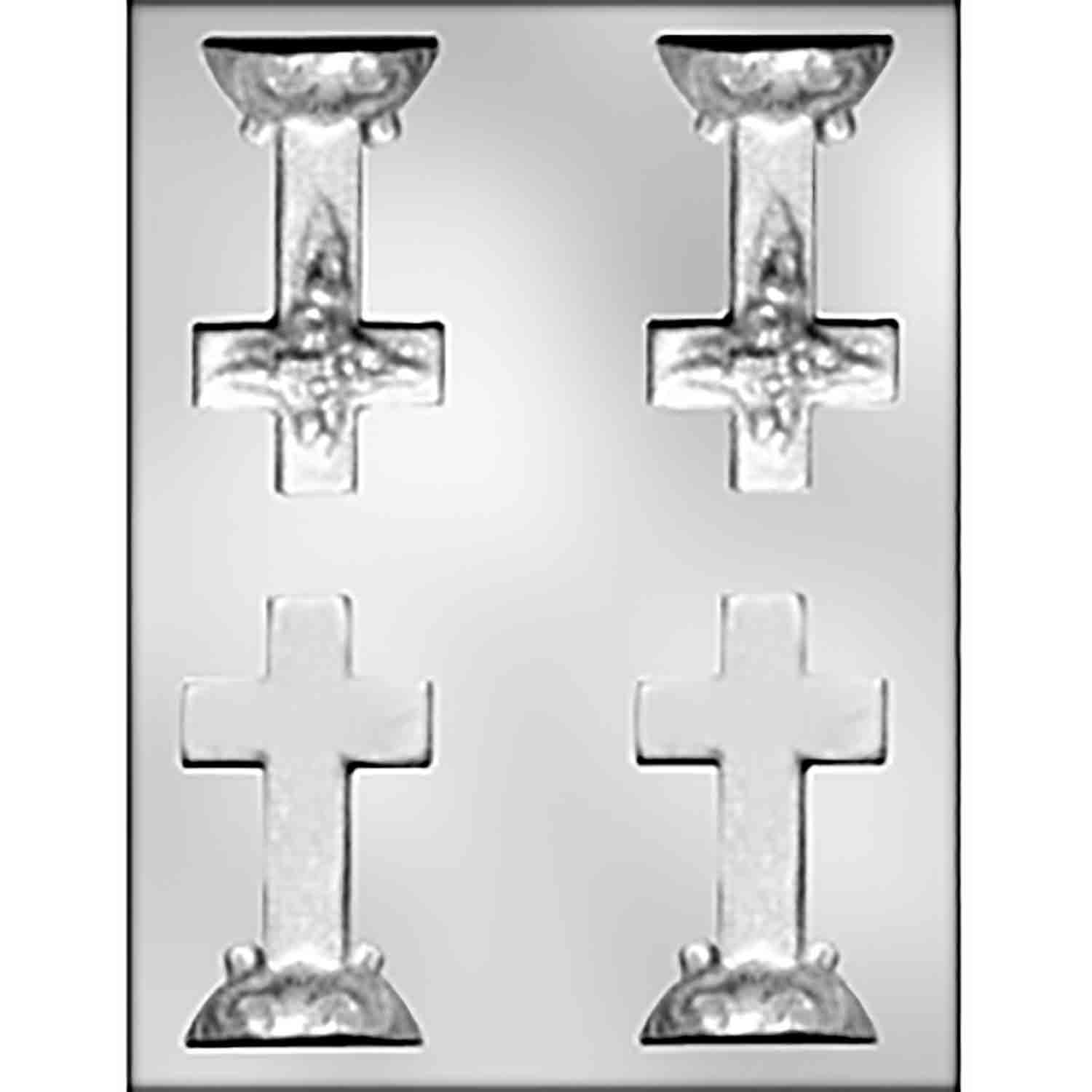 3D Cross with Fancy Base Chocolate Candy Mold