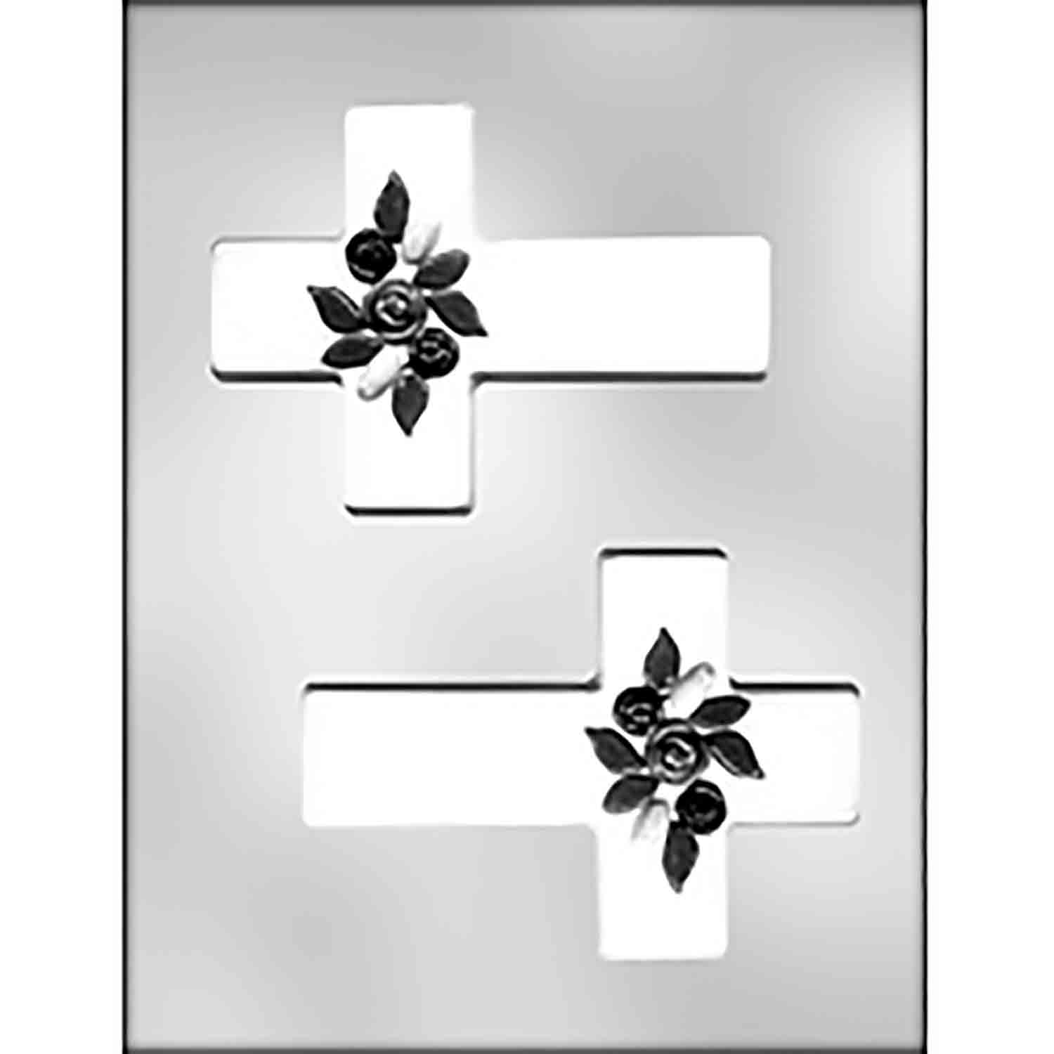 Cross with Flowers Chocolate Candy Mold