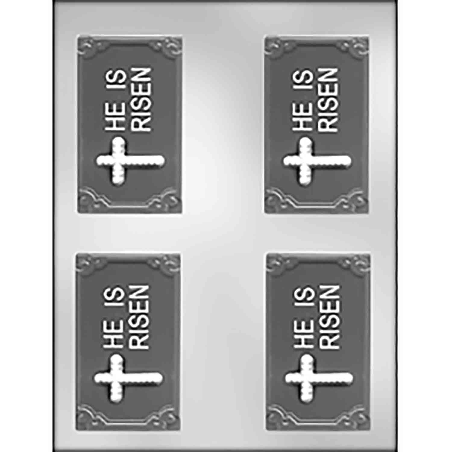 """HE IS RISEN"" with Cross Business Card Candy Mold"
