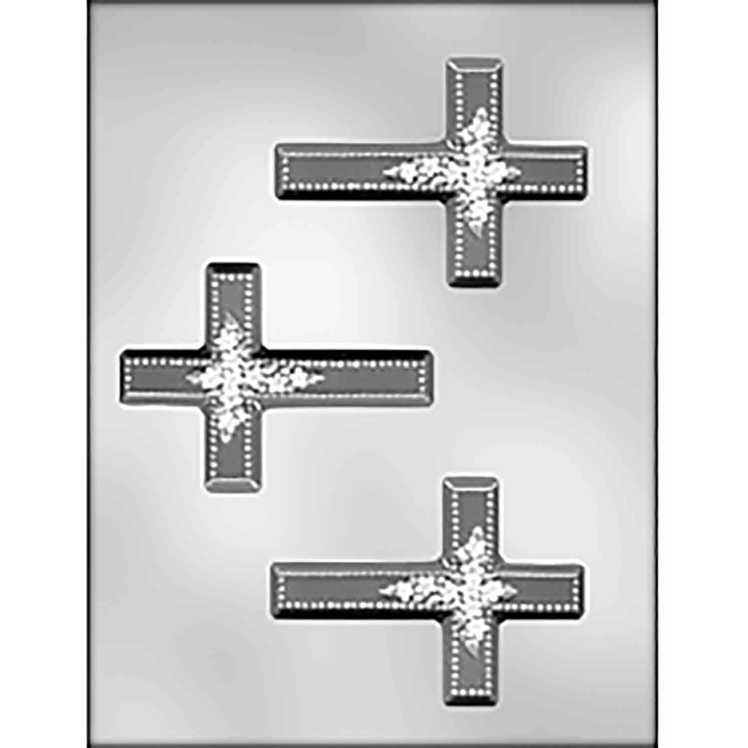 Cross with Flower Spray Chocolate Candy Mold
