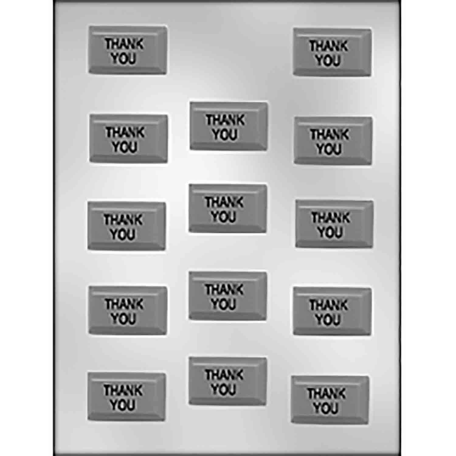 """THANK YOU"" on Rectangle Chocolate Candy Mold"