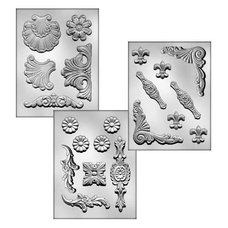Baroque Set Fondant/Chocolate Candy Mold