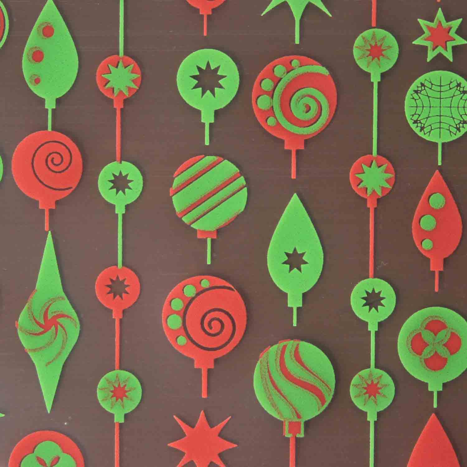 Chocolate Transfer Sheet - Red & Green Ornaments