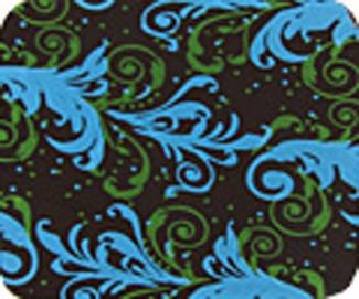 Chocolate Transfer Sheet - Blue and Lime Flourish