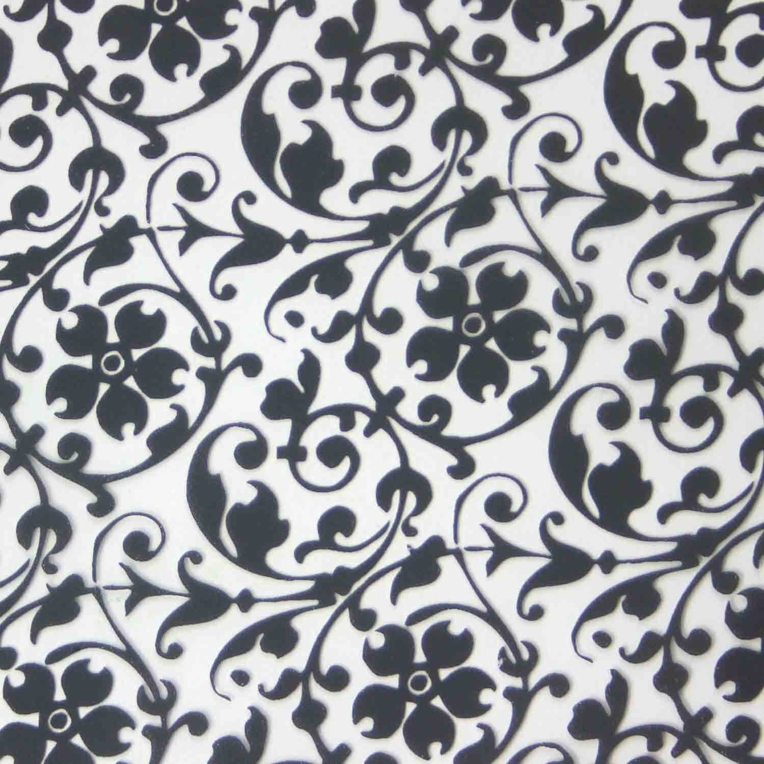 Chocolate Transfer Sheet - Black Floral Scroll