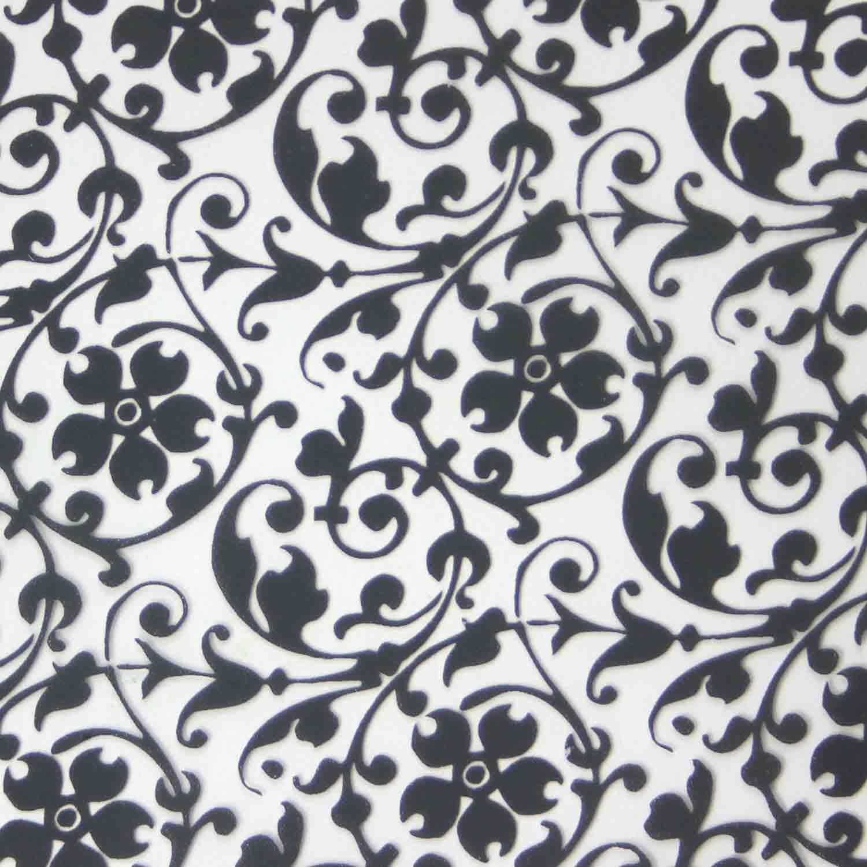 Chocolate Transfer Sheet - Black Floral Scroll