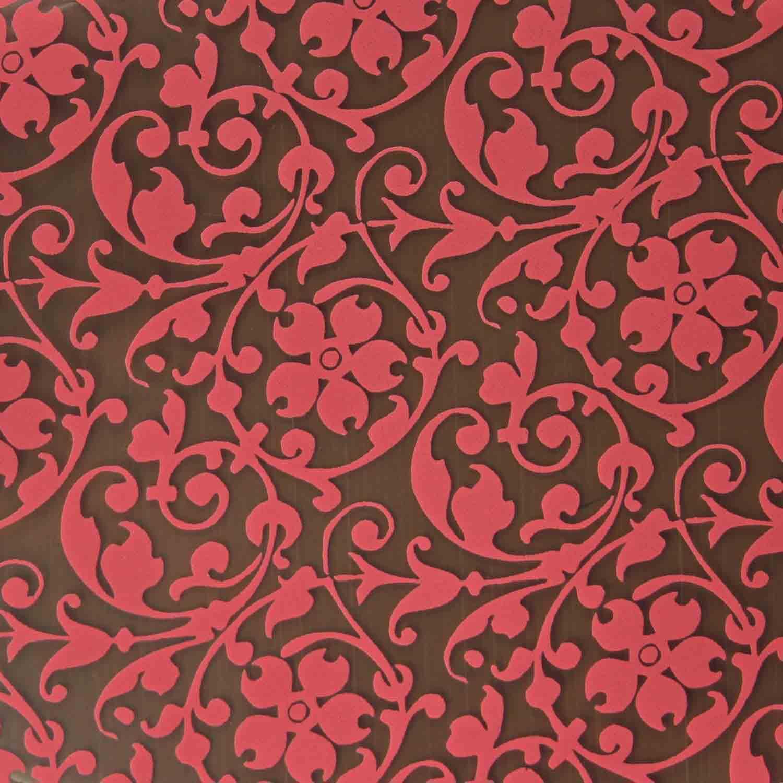 Chocolate Transfer Sheet - Raspberry Floral Scroll
