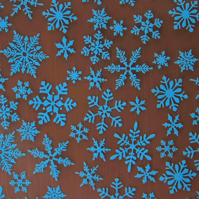 Chocolate Transfer Sheet - Light Blue Snowflake