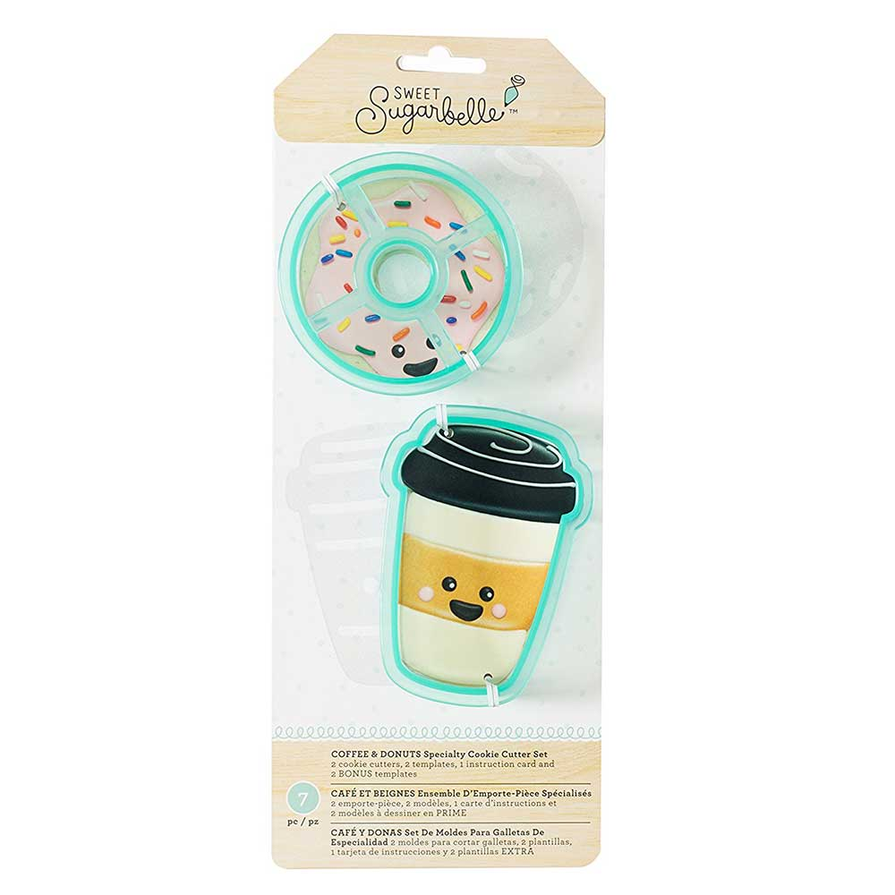 Coffee and Donuts Cookie Cutter Stencil Set by Sweet Sugarbelle