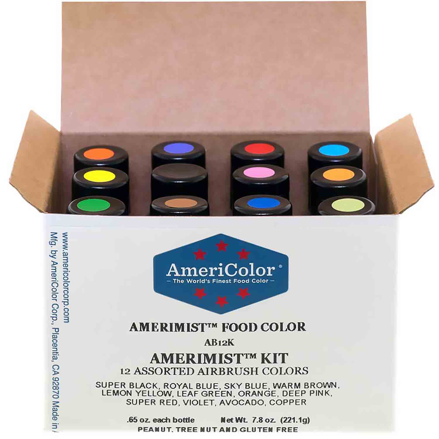 12 Color AmeriColor® AmeriMist™ Air Brush Food Color Kit