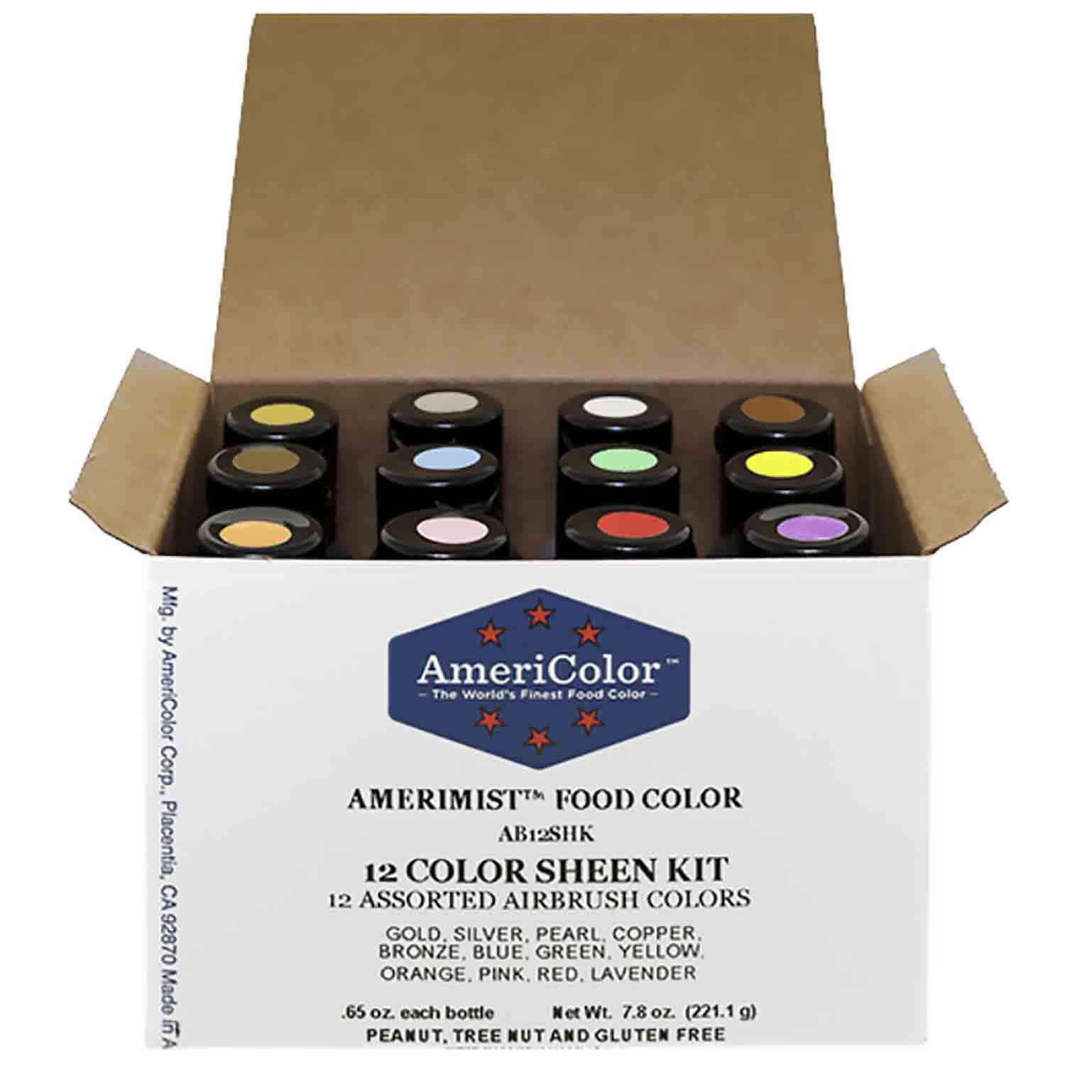 12 Color Sheen AmeriMist™ Air Brush Food Color Kit