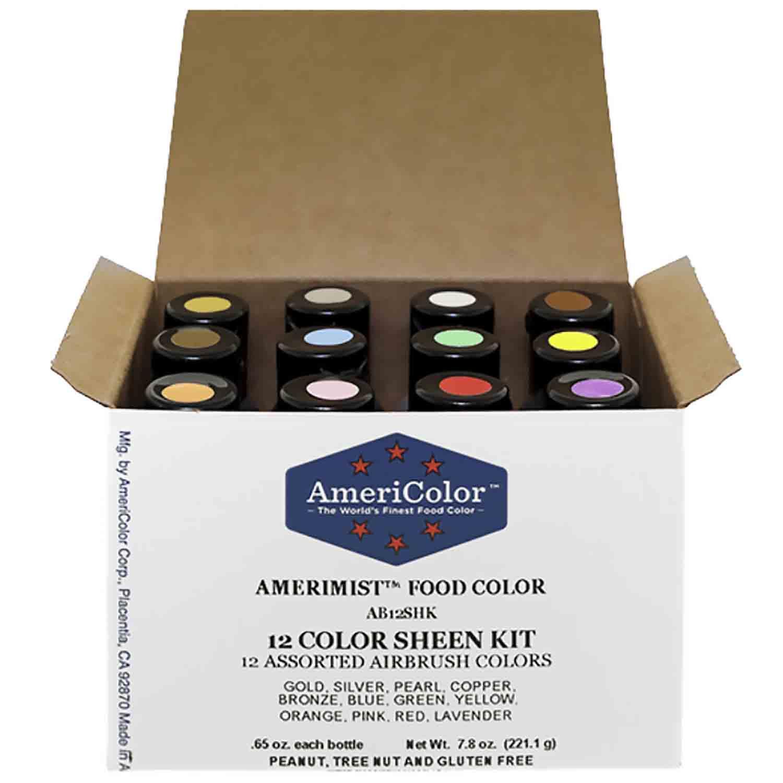 AmeriColor AmeriMist Sheen Air Brush Food Color Kit (12 Colors) (Old # 34-665)