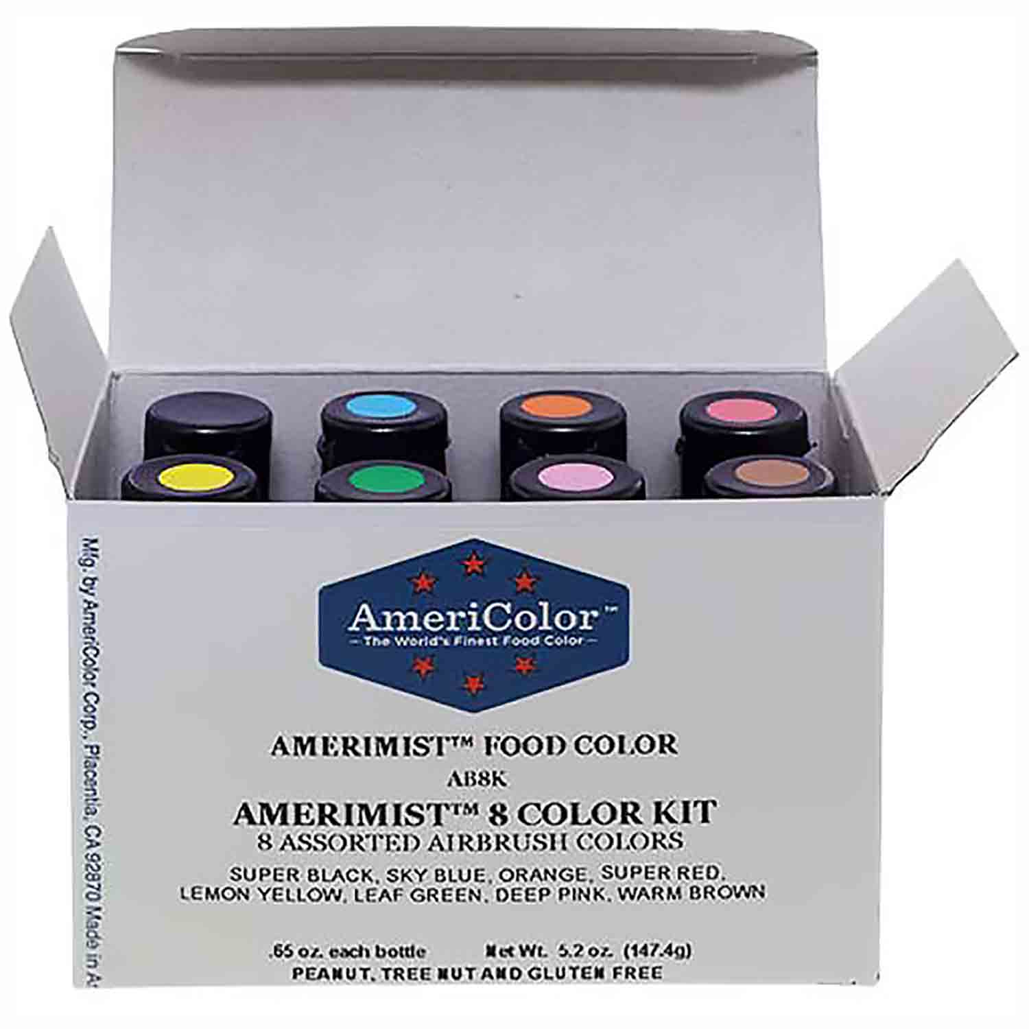 8 Color AmeriColor® AmeriMist™ Air Brush Food Color Kit