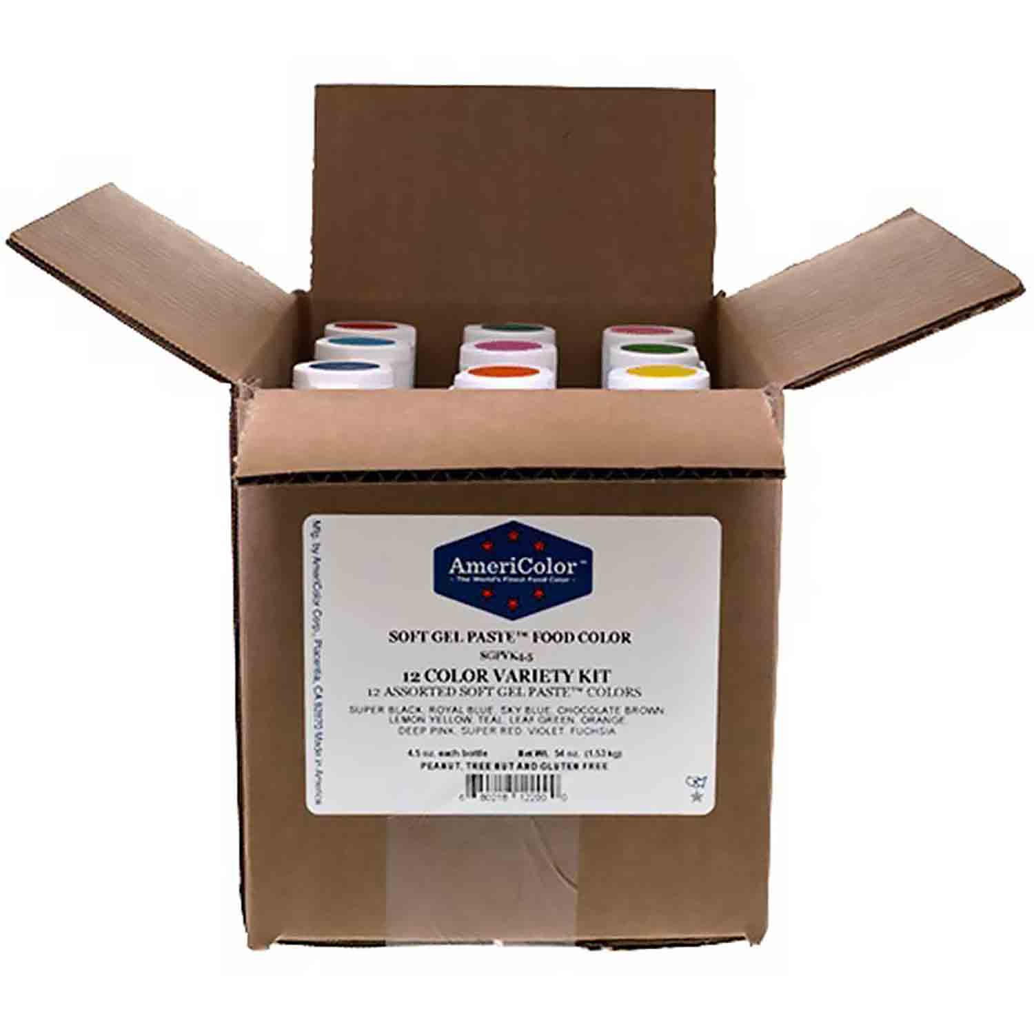 12 Color Variety AmeriColor® Soft Gel Paste™ Food Color Kit