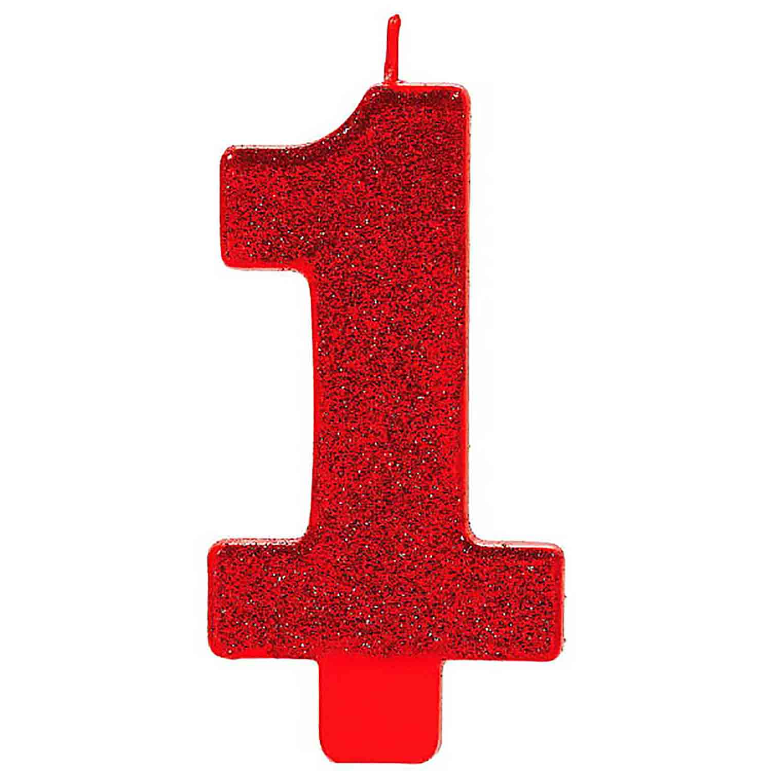 Large Red Glitter Number 1 Candle