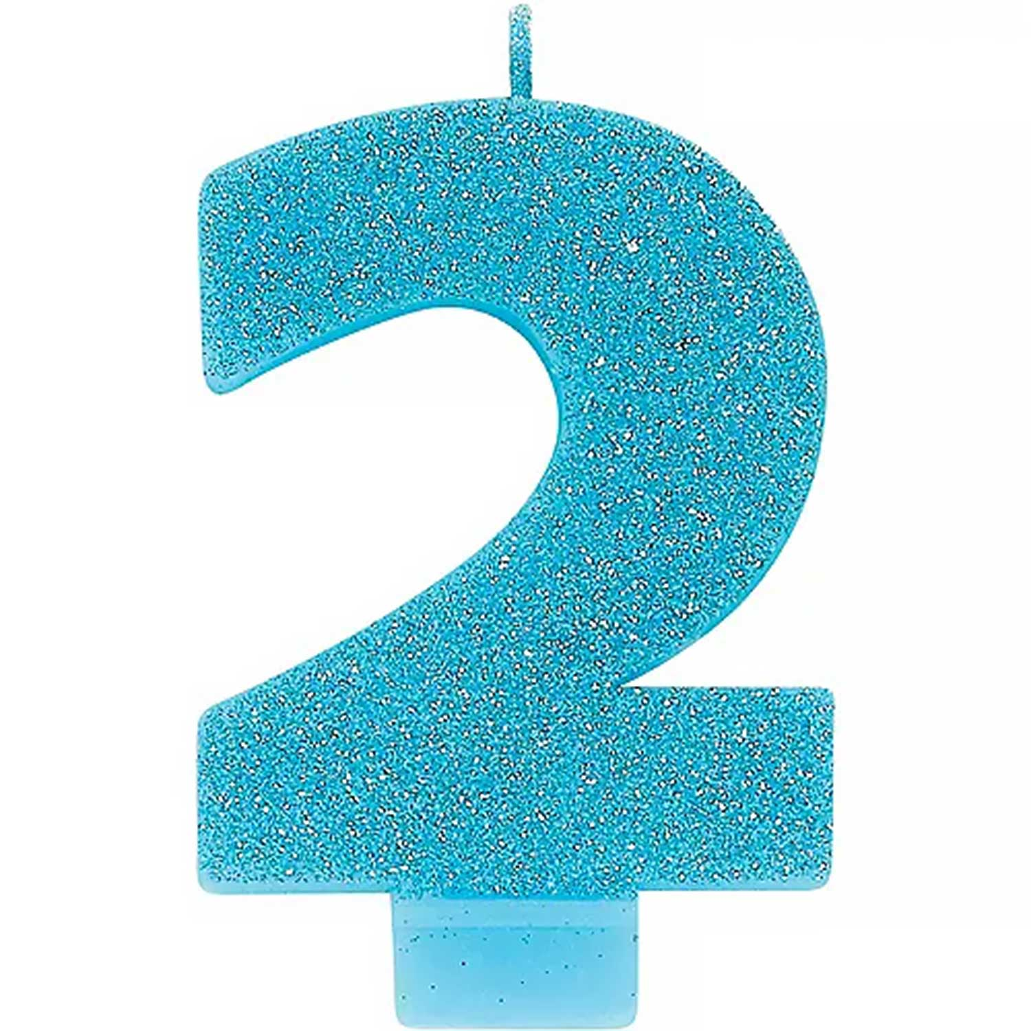 Caribbean Blue Glitter Number 2 Candle