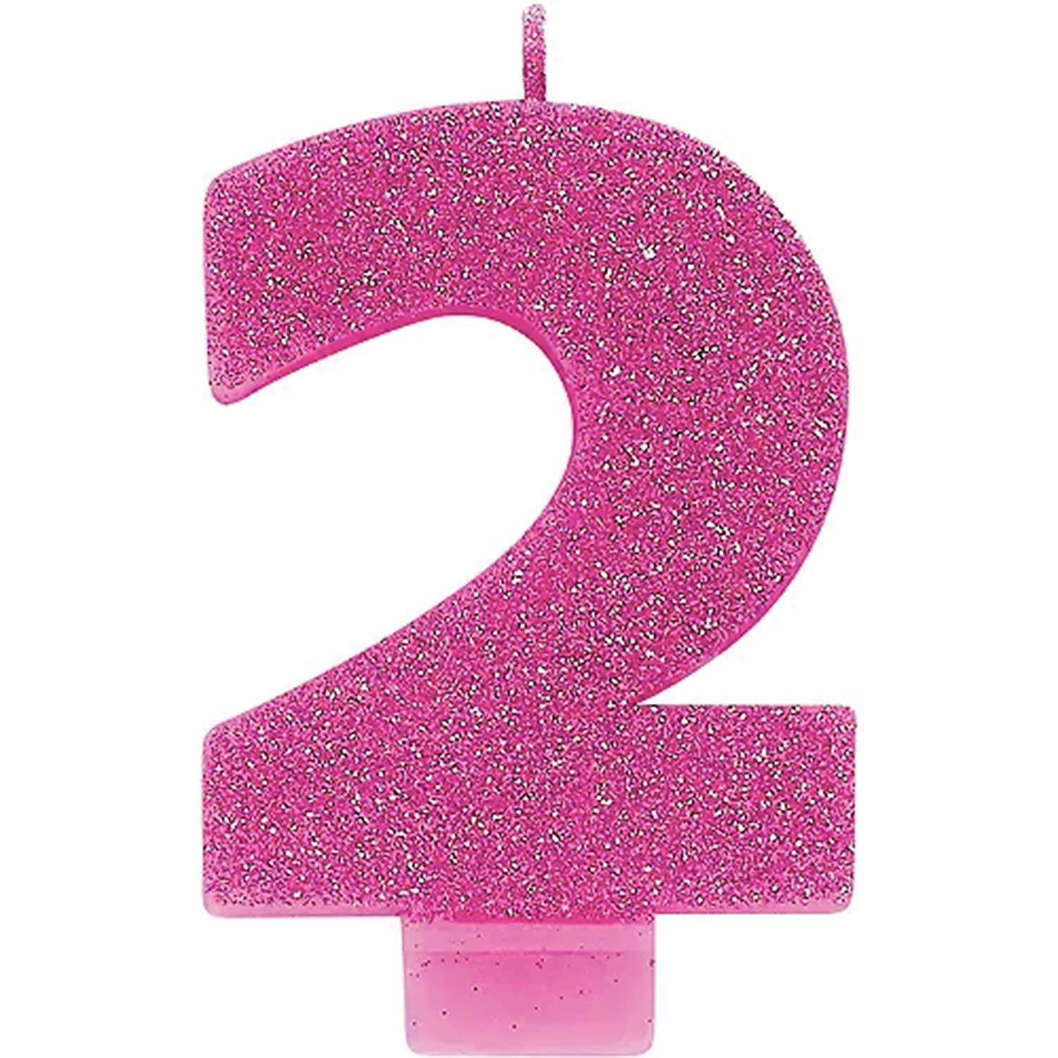 Pink Glitter Number 2 Candle