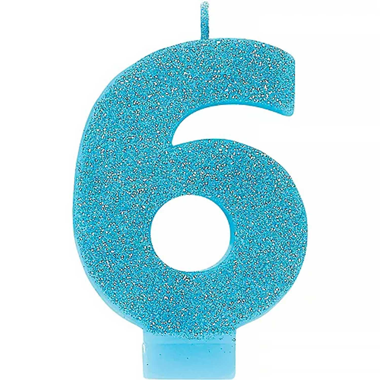 Caribbean Blue Glitter Number 6 Candle