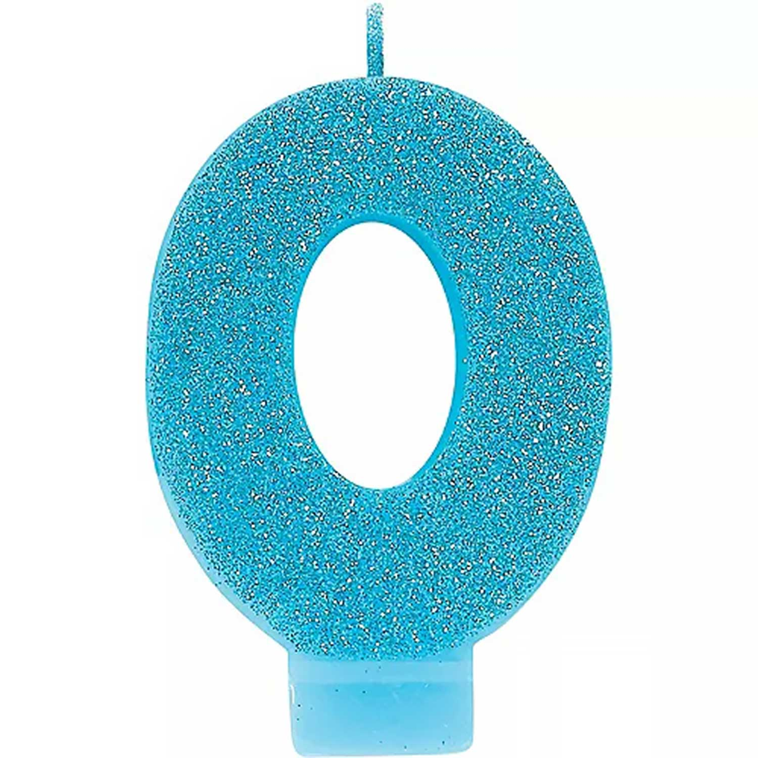 Caribbean Blue Glitter Number 0 Candle