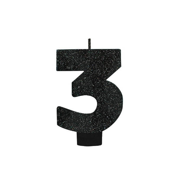 Black Glitter Number 3 Candle