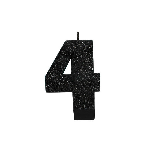 Black Glitter Number 4 Candle