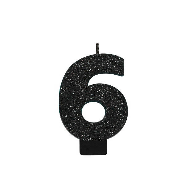 Black Glitter Number 6 Candle
