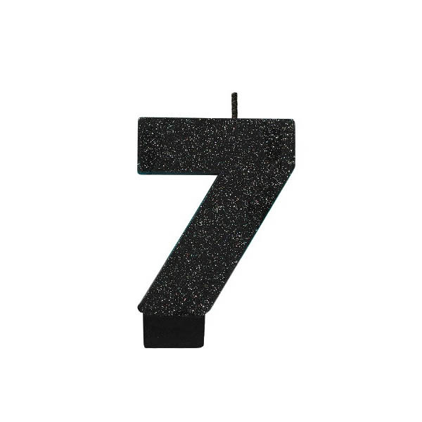 Black Glitter Number 7 Candle