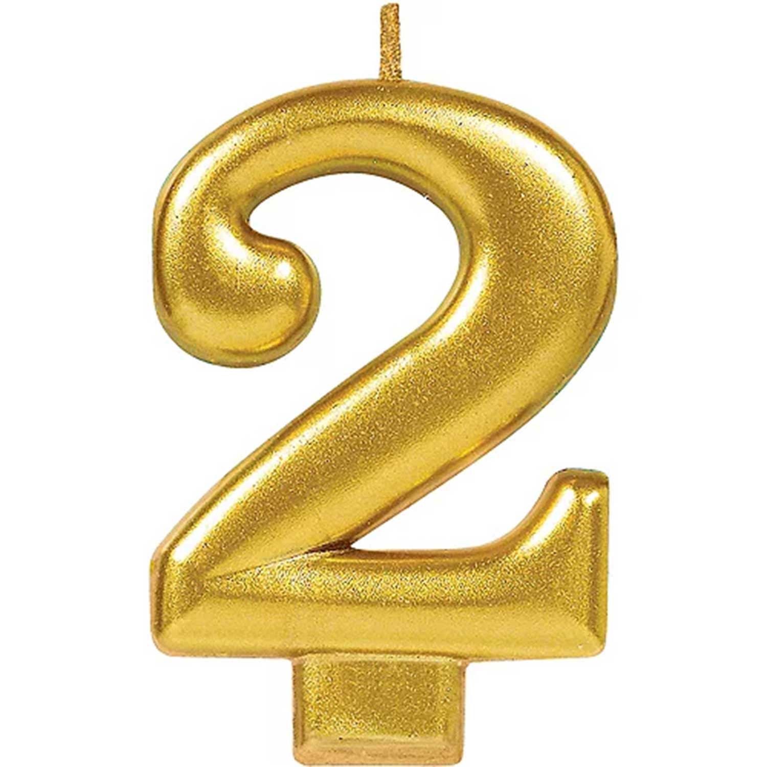 Gold Number 2 Candle